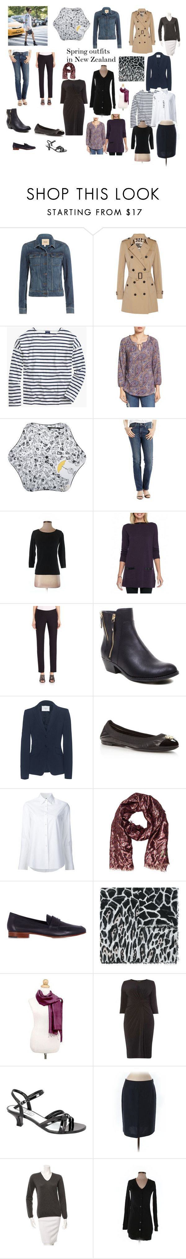 Spring wardrobe for New Zealand by lyn-mowles on Polyvore featuring Dorothy Perkins, Jeanne Pierre, Saint James, LOFT, Misha Nonoo, malo, Lucky Brand, Burberry, Dondup and Paige Denim
