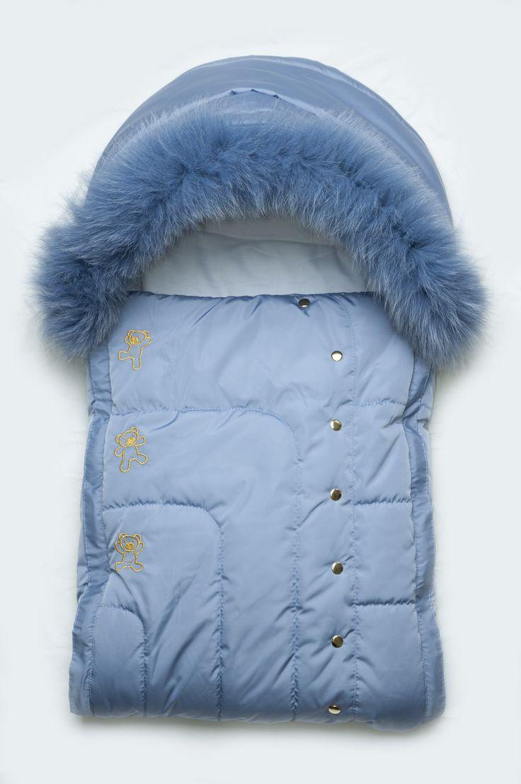 Зимний конверт для новорожденного мальчика с натуральной опушкой голубой.  Зимний конверт на выписку для...