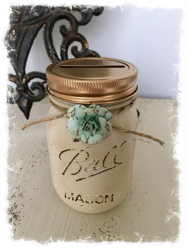 A personal favorite from my Etsy shop https://www.etsy.com/listing/504500963/rustic-cream-gold-mason-jar-piggy-bank
