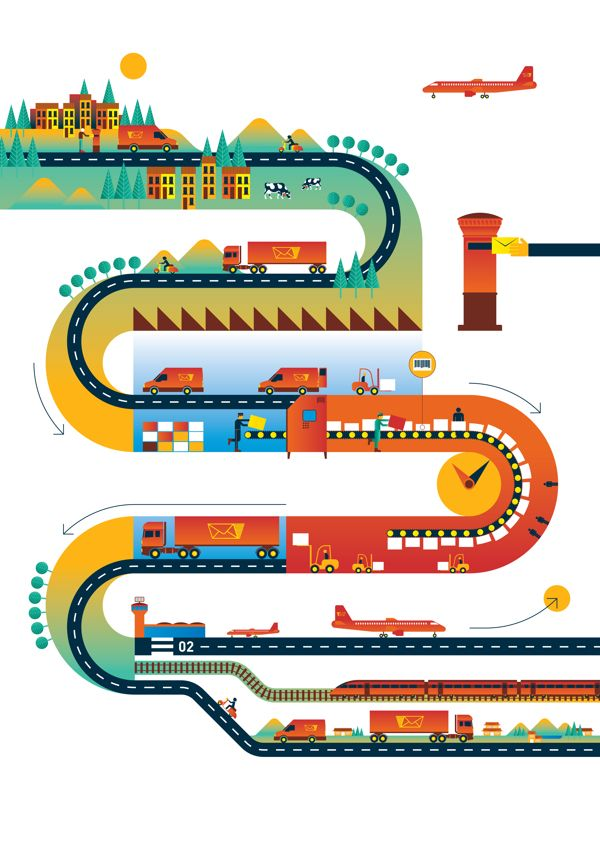 Union Postale magazine cover and feature illustration by Carlos Coelho, via Behance