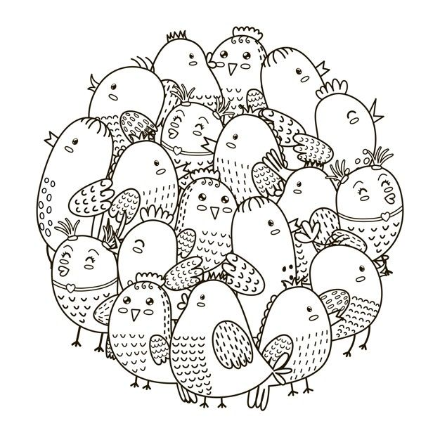 Circle Shape Pattern With Cute Birds For Coloring Book Pattern Coloring Pages Shape Coloring Pages Coloring Books