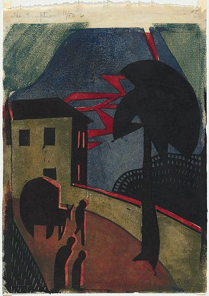 BLACK, dorrit, linocut, australia, the eruption. Date Made 1927 Technique linocut, printed in colour, from four blocks (black, blue, green, red)