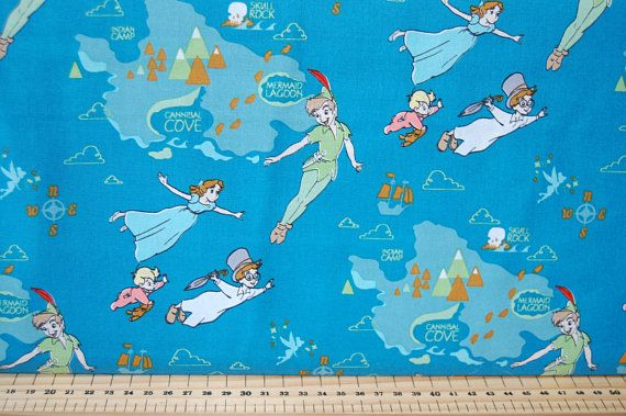 Peter Pan and Neverland Quilting Fabric Per 1//4 Metre