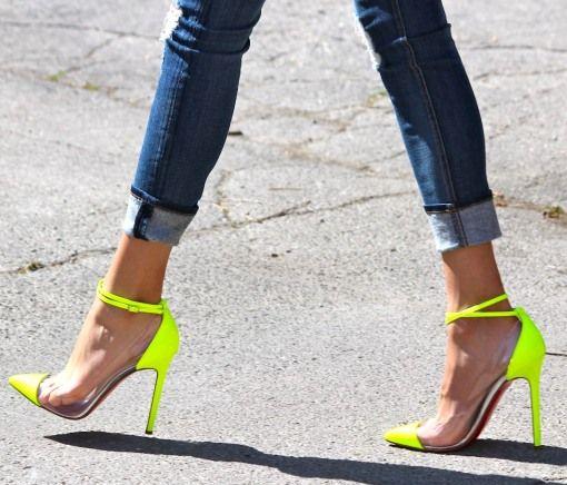 neon louboutins.Fashion, Skinny Jeans, Neon Heels, Style, High Heels, Christian Louboutin, Neon Shoes, Christianlouboutin, Neon Yellow