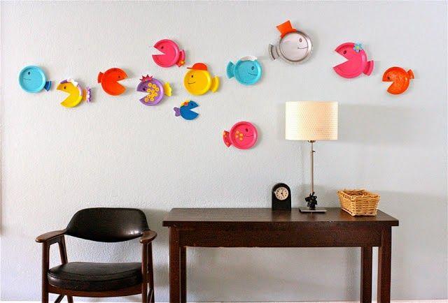 Тропические рыбки из бумажных тарелок ИДЕЯ №2