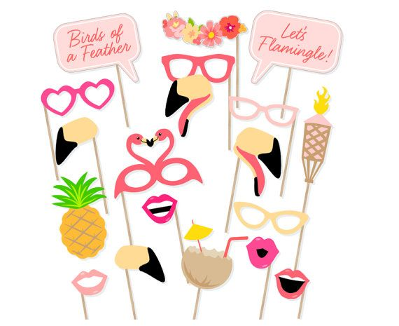 Printable Flamingo Party Photo Booth Props  door PrintablePropShop