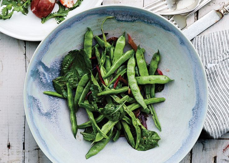 Runner Beans with Swiss Chard Stems and Basil Recipe – Bon Appétit