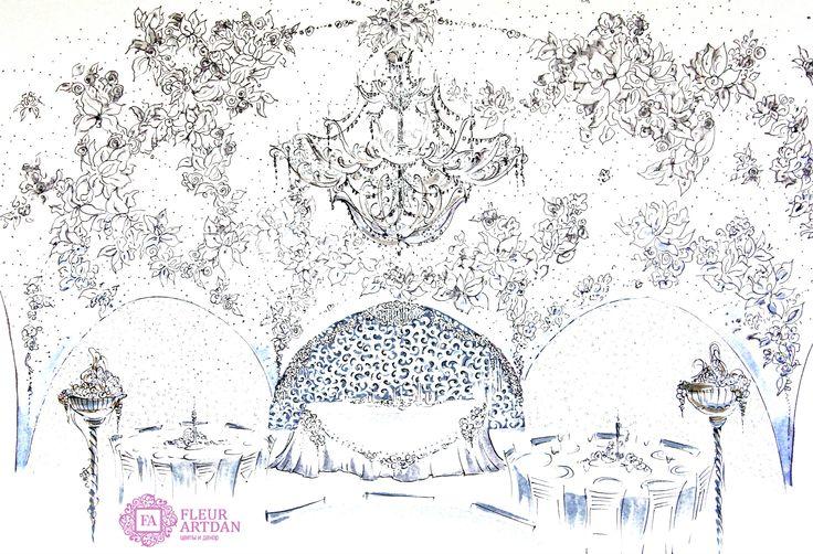 Эскизы оформления, декор шатра, кружевная свадьба, концепция оформления