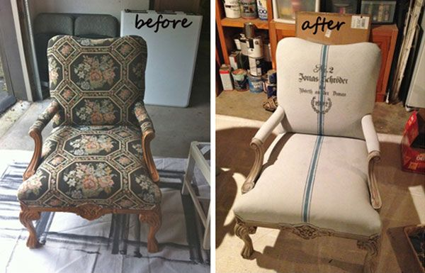 DIY Projects Using Paint: If reupholstering is not in the budget, try painting. This chair was painted with Annie Sloan Chalk Paint and accented with a stripe detail and stenciling. This one I have to try! Painting Fabric with Annie Sloan Chalk Paint Tutorial
