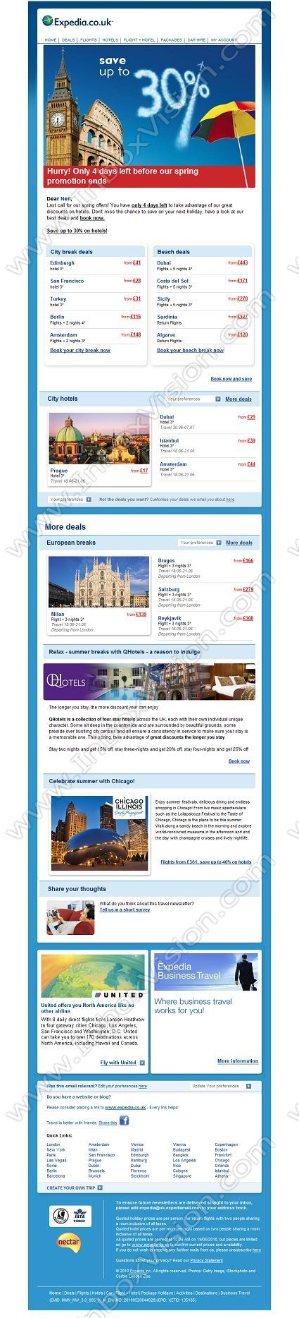 Company:    Expedia.co.uk    Subject:    Only 4 days left to save 30% off hotels             INBOXVISION is a global database and email gallery of 1.5 million B2C and B2B promotional emails and newsletter templates, providing email design ideas and email marketing intelligence http://www.inboxvision.com/blog