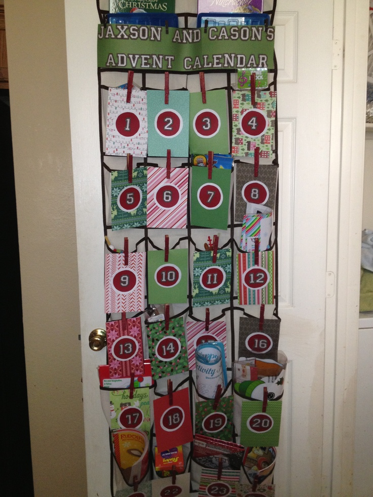 Advent calendar made from scrapbook paper clothespins and for Advent calendar decoration