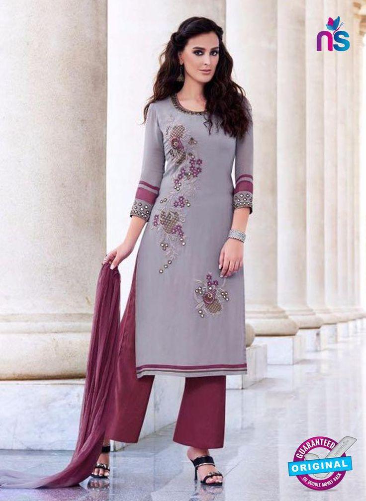 Teazle 2204 Grey and Maroon Embroiderd Georgette Designer Suit