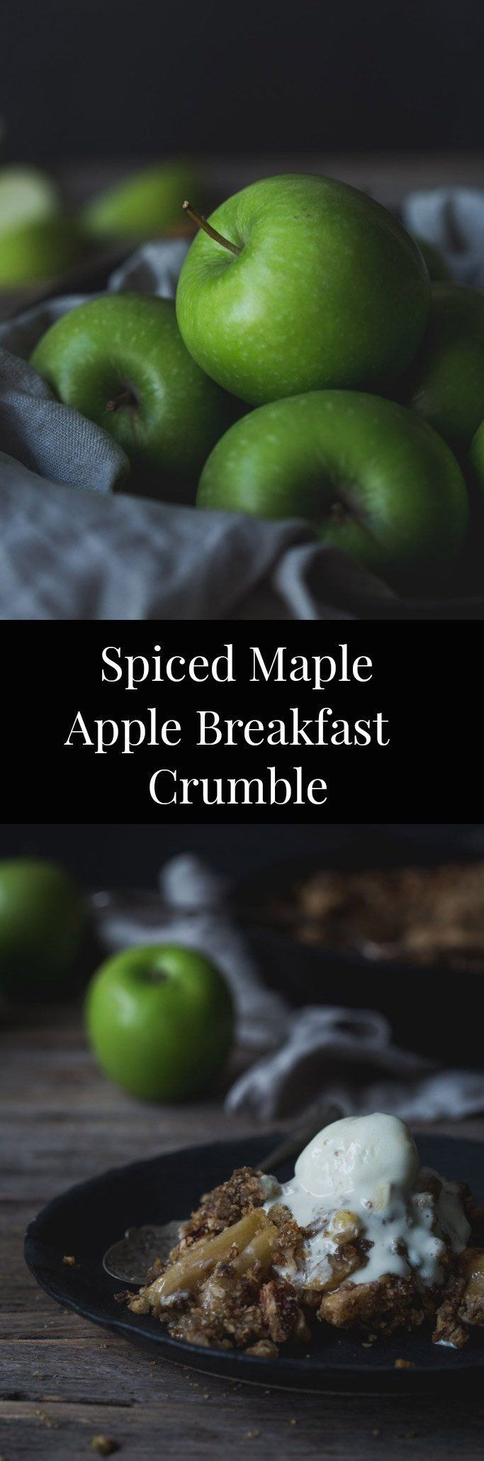 This Spiced Maple Apple Breakfast Crumble boasts spiced maple apples under a pecan oatmeal crumble. (V & GF)