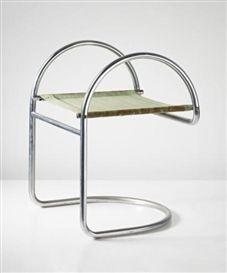 Artwork by Mogens Lassen, Stool, Made of Chromium-plated tubular steel, canvas