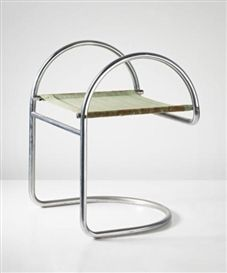 Artwork by Mogens Lassen, Stool, Made of Chromium-plated tubular steel, canvas