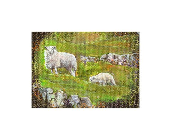 Mothers Day Mother and lamb, Sheep painting a day 293, White sheep and lamb, Original ACEO, Acrylic on Canvas, miniature sheep art. Easter