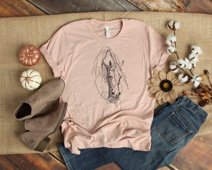 Western Horse Sketch  Short-Sleeve tee. Arabian horse clothing. Clothing for ho … – Horse Tshirt