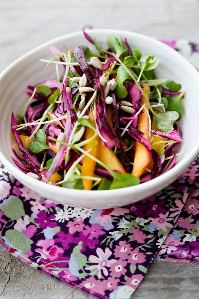Red Cabbage and Mango Slaw with Dressing