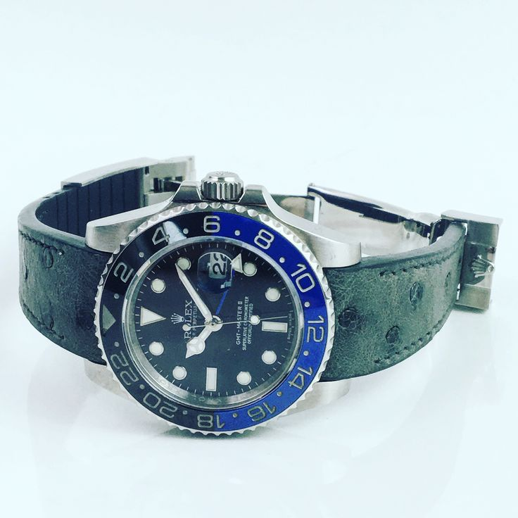 "Rolex GMT Master ""batman"" with the Krono strap in Ostrich leather"