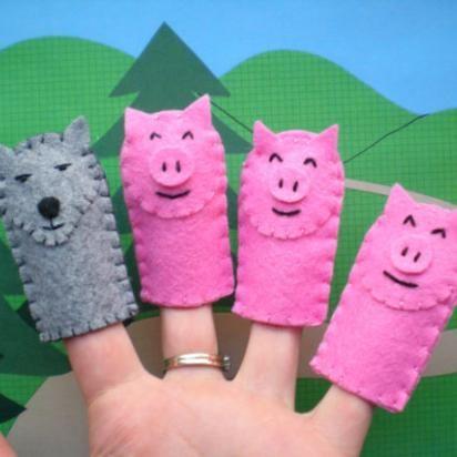 Three little pigs eco-frienldy felt finger puppets for kids