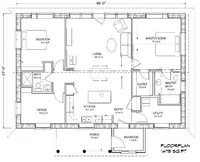 Two story slab on grade house plans Slab home floor plans
