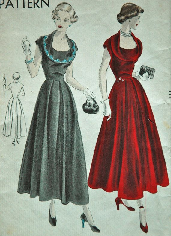 1940's Vogue One Piece Dress Pattern ~ That cranberry gown is achingly beautiful!