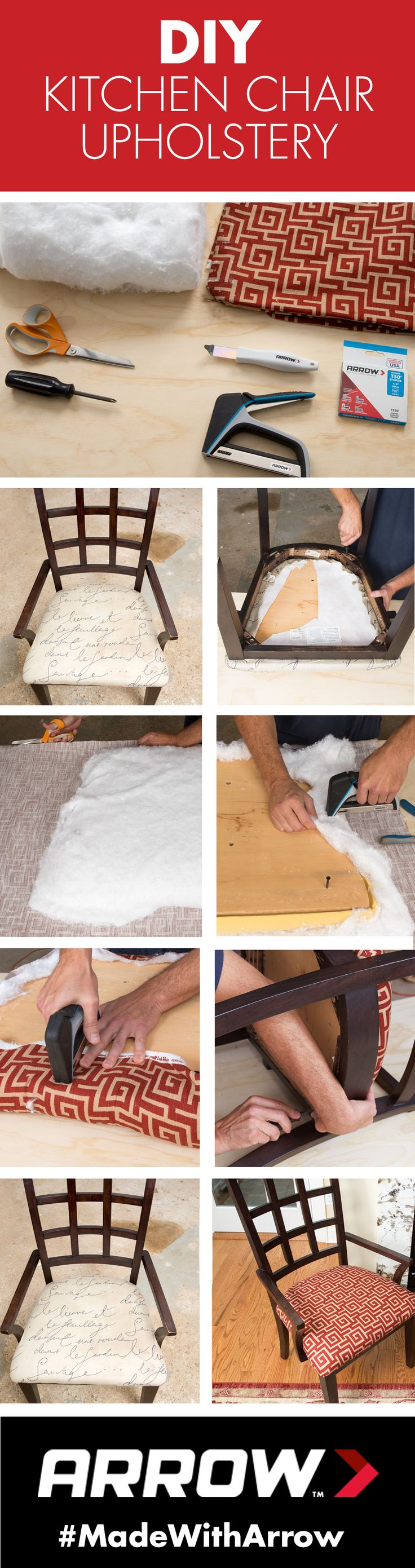 Update your dirty dining room and kitchen chairs with this DIY reupholstery tutorial that uses the TacMate staple gun, ¼-inch staples, a staple lifter and non-stretch fabric. Follow Arrow on Pinterest for more great projects! www.arrowfastener.com
