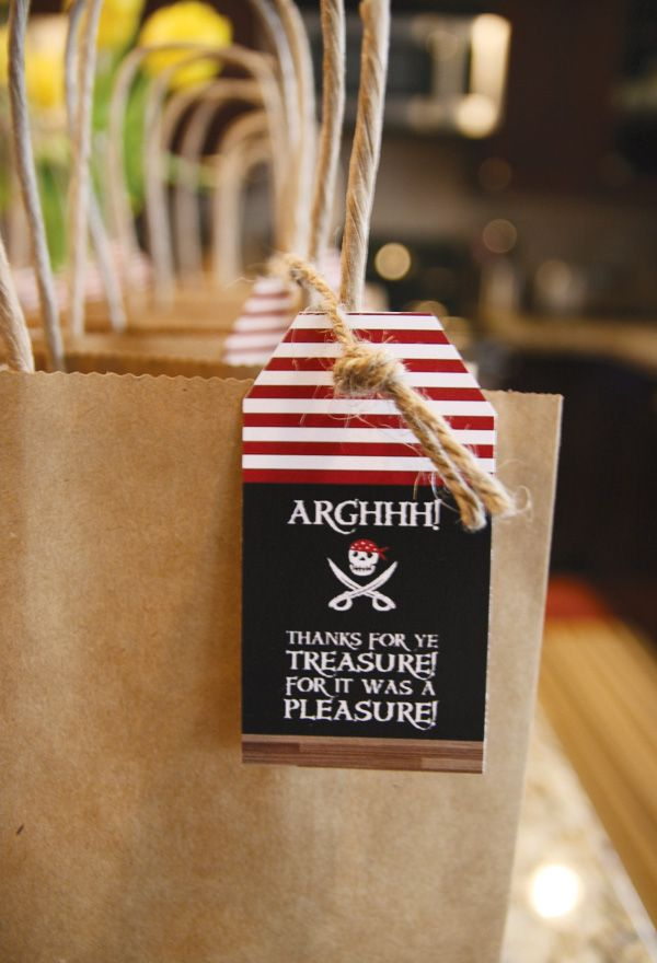 pirate-party-treasure-favors Wording seems odd, it's like you're getting a treasure not giving one!  Might switch it around?  It was a pleasure, now take some treasure? kb