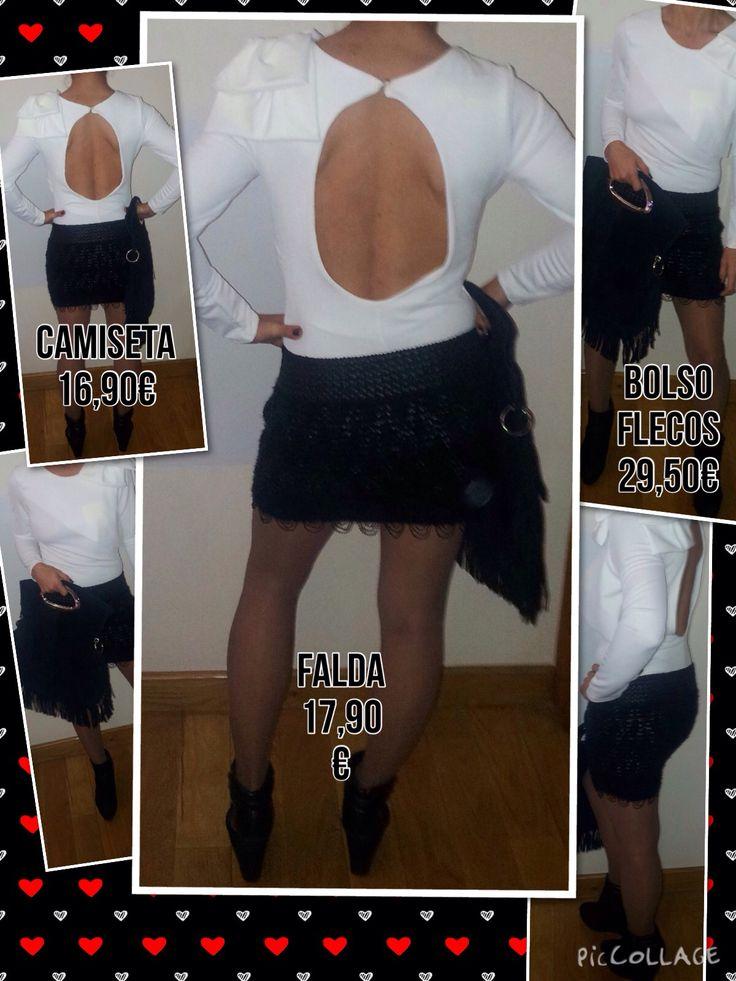 Precioso diseño formado por falda negra con polipiel, camiseta blanca con escotazo a la espalda y poniendo la puntilla al estilismo, maravilloso bolso de serraje con flecos en negro, serás la envidia en todas las fiestas!!!!...