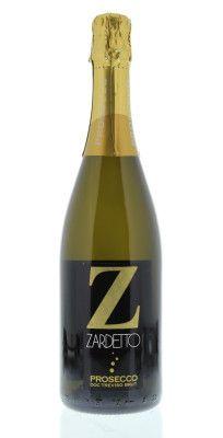 Brut Zardetto Prosecco di Treviso Brut, Veneto, Italy label, dry, sparkling wine with hints of peach and pear