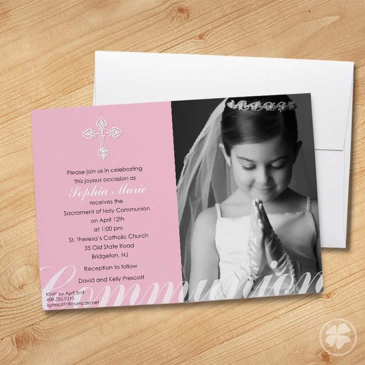 Girl's First Communion Invitations, Photo Communion Invitations, First Holy Communion Invitations, Communion invitations for Girls by ThePaperShamrock on Etsy https://www.etsy.com/listing/89789734/girls-first-communion-invitations-photo