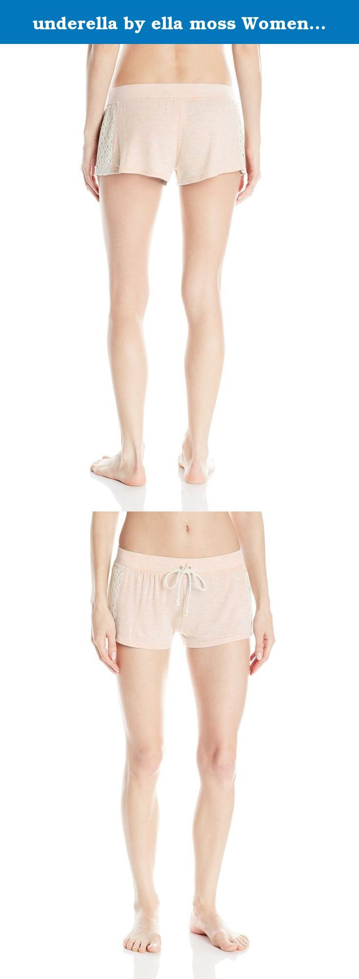 underella by ella moss Women's Harlow Short, Peach Heather, Large. Low rise short with bohemian lace inset at side seams.