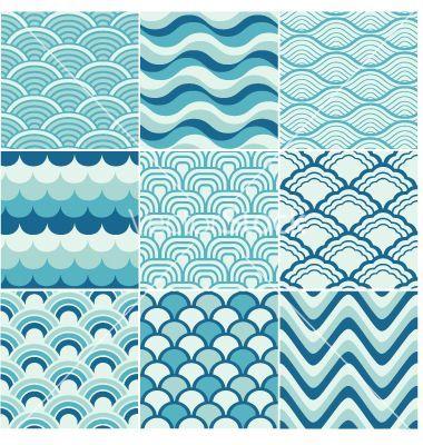 Ocean wave japanese art | Seamless ocean wave pattern vector