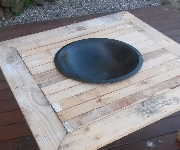 Outdoor fire pit on a table outdoor fire garden fire for Skid pallet furniture