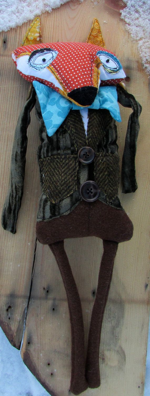 Unsure Gentleman Fox handmade art doll