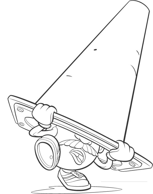 disney coloring pages toy story mr potato head hiding under traffic cone