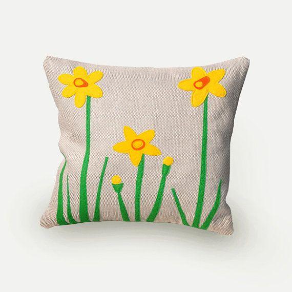 Jonquille coussin décoratif, coussin fleurs, jonquilles, printemps, fleurs, déco salon, salle de séjour, appliqué, housse coussin.