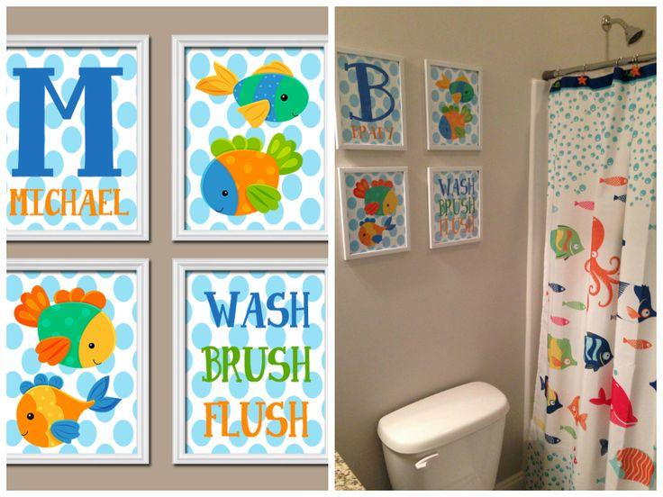 Nautical Fish Bathroom Canvas or Prints Fish Bathroom Ocean Bathroom Bubbles Fish Wash Brush Flush Set of 4 Child Bathroom Kid Bathroom trmdesign