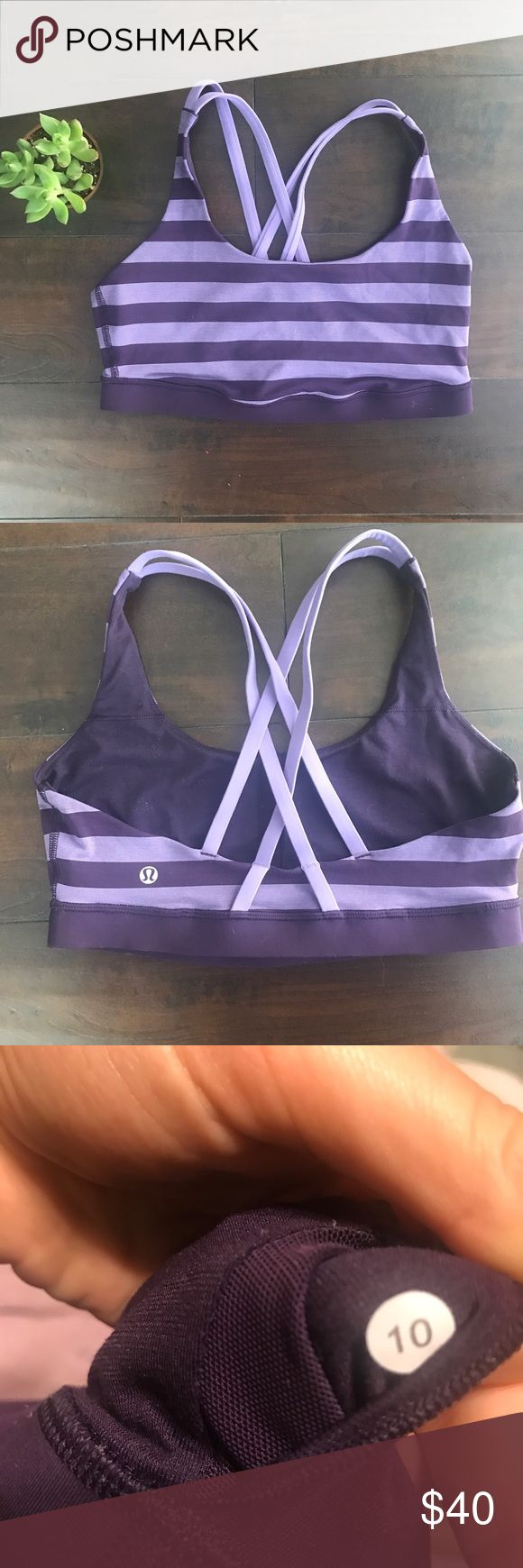 Lululemon Energy Bra Purple strappy non padded sports bra. No flaws. lululemon athletica Tops Tank Tops