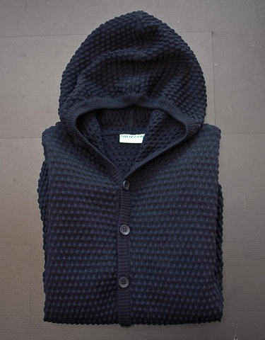 Svensson - Cardigan Hood in Spot Navy. 100% Wool, knitted in Italy. This is not your average hoodie! $233