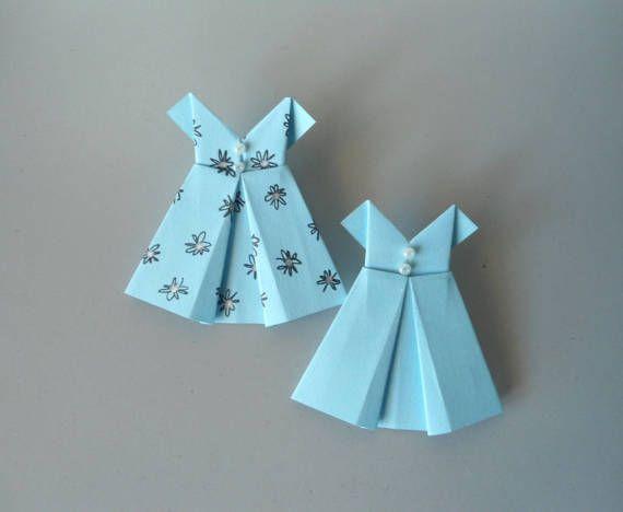 Origami abiti azzurri materiale per creazione abiti di NatalyMargo