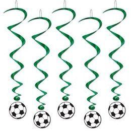 Hangdecoratie Whirls Voetbal -  Vijf prachtige hangdecoraties met voetballen. Lengte: 100cm. Leuk voor een sport evenement, kinderfeest of gewoon als decoratie in een kinder of tiener slaapkamer.