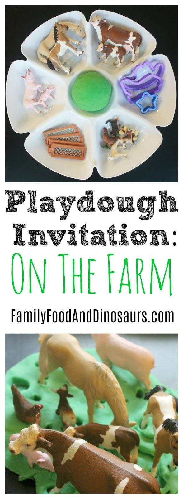 Playdough Kit: Down on the farm. A fun sensory activity for farm themed lessons. Subscribe to our newsletter for weekly learning ideas delivered right to your inbox! #playdoughkit #playdough #kit #invitation #farm #schliech