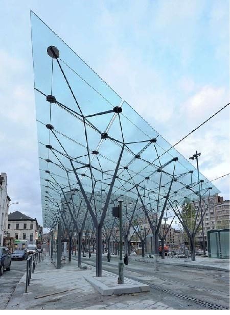 Staalbouwwedstrijd: Laureaat karakteristieke bouwdelen: Luifel Flageyplein door D+A International en Latz + Partner *Foto: Jean-Luc Deru