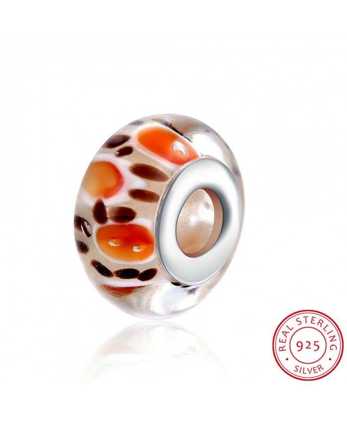 925 Sterling Silver Charm Orange Spot Glass Beads