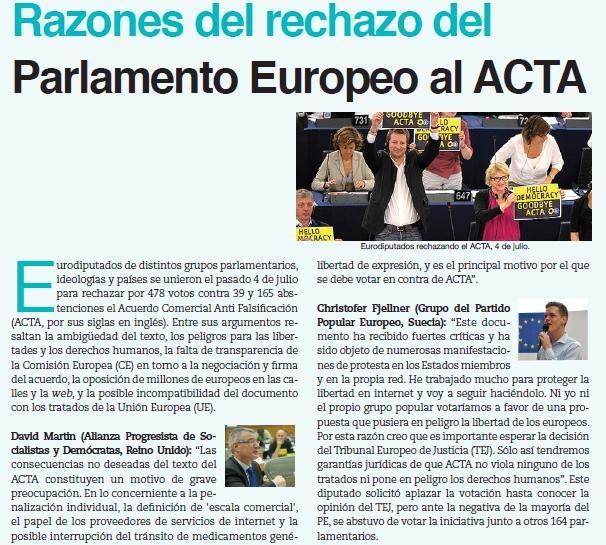 Parlamento europeo rechaza ACTA