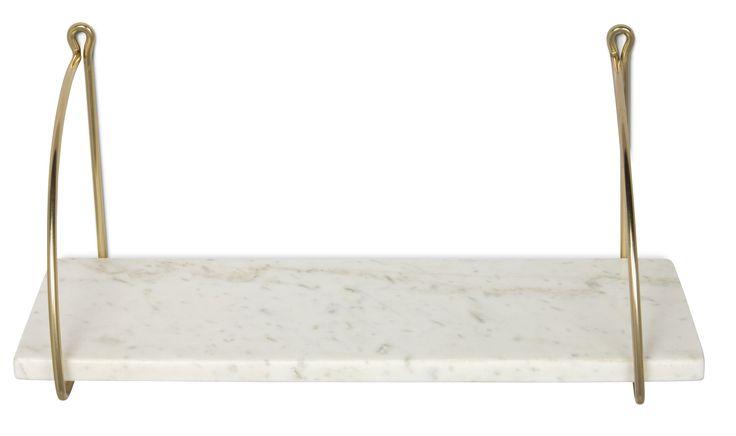 Porter är en stilren, elegant och lättplacerad hylla. De fina materialen med hyllplan i äkta marmor och konsoler i metall gör hyllan till en vacker detalj i hemmet. Använd den till förvaring och för att visa upp några av dina bästa föremål.