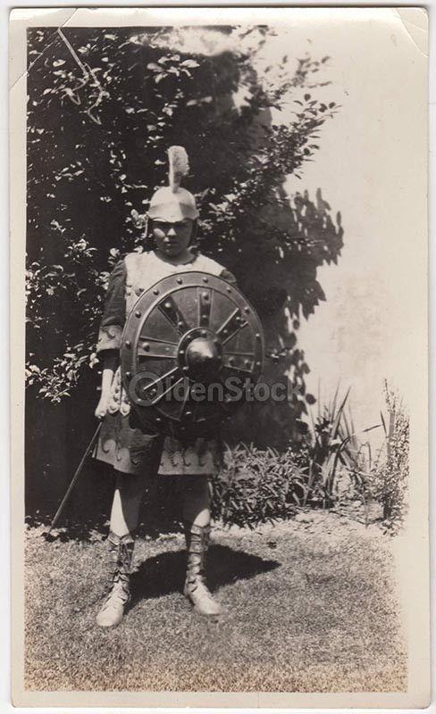 Little Boy Roman Centurion Soldier Halloween Costume Vintage Americana Snapshot Photo