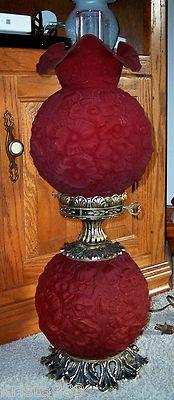 RARE Vintage Fenton Ruby Red Satin Glass Poppy Pattern GWTW Lamp Excellent | eBay