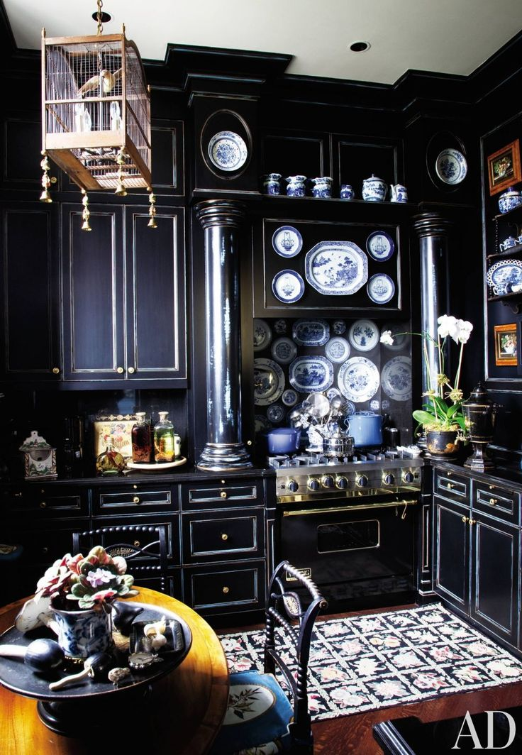 Traditional Kitchen by Friederike Kemp Biggs and George W. Sweeney in New York, New York. Needlepoint rug: Dark Kitchens, Idea, Houses, Dreams, Black Cabinets, Blue Kitchens, Black Kitchens, Architecture Digest, Blue And White